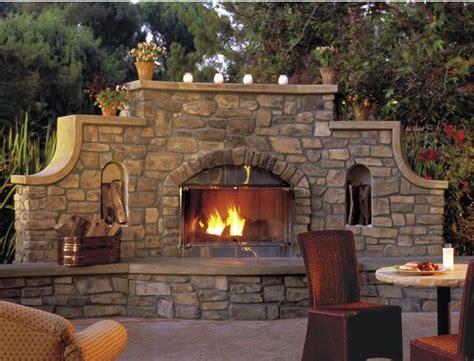 wall outdoor fireplace gardening ideas