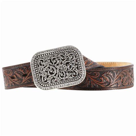 ariat western womens belt leather filigree rhinestone