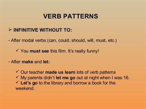 verb pattern continue verb patterns 8 c revision and more