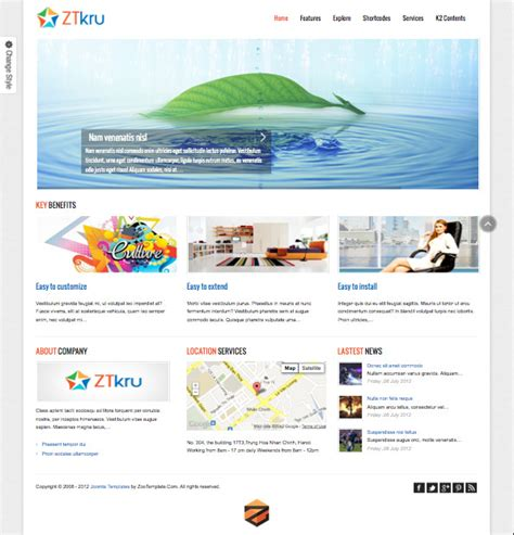 template joomla responsive 2 5 free zt kru responsive joomla template for businesses