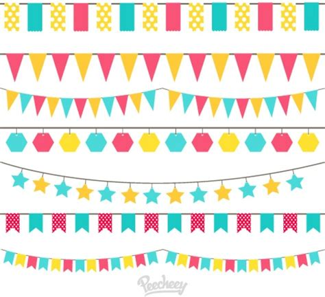 Banner Segitiga Happy Birthday birthday flags free vector in adobe illustrator ai ai