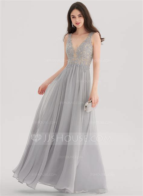 V Neck Prom Dress a line princess v neck floor length chiffon prom dresses