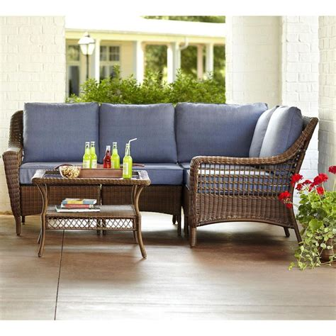 patio sectional sets hton bay spring haven brown 5 piece all weather wicker