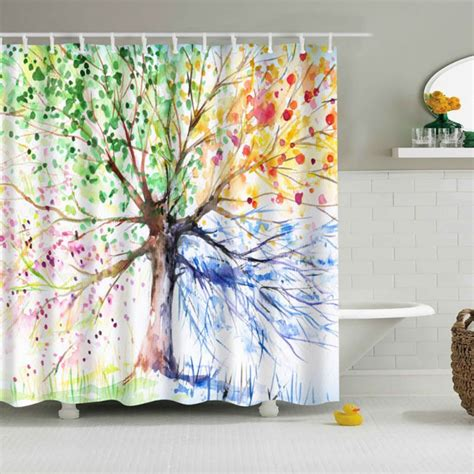 tree print shower curtain bathroom waterproof fabric colorful tree pattern shower