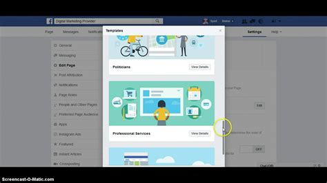How To Change Your Facebook Page Template Youtube Change Page Template