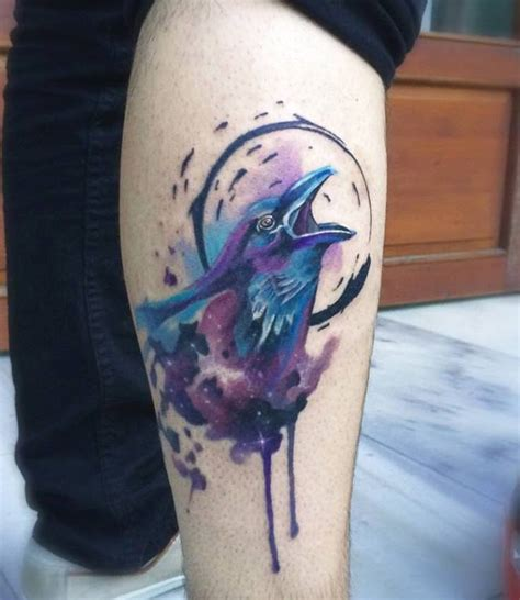 watercolor tattoo raven watercolor on side of leg express yourself