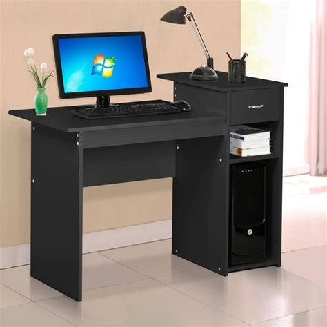 Small Computer Desks With Drawers Small Spaces Home Office Computer Desk With Drawers Storage Shelves Furniture Ebay