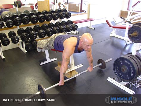 bench barbell row incline bench barbell row video exercise guide tips