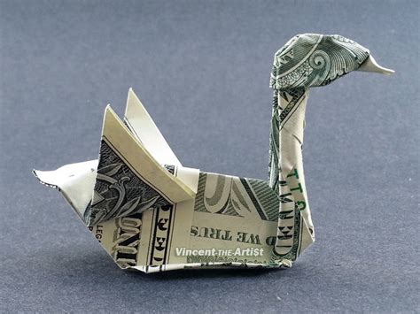 money origami swan dollar bill made with 1 00