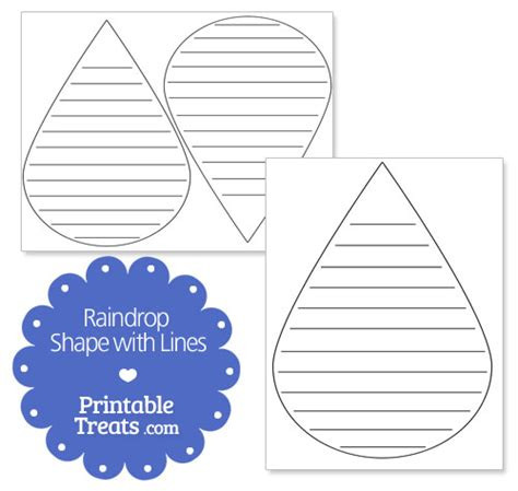 raindrop writing paper raindrop shape with lines printable treats