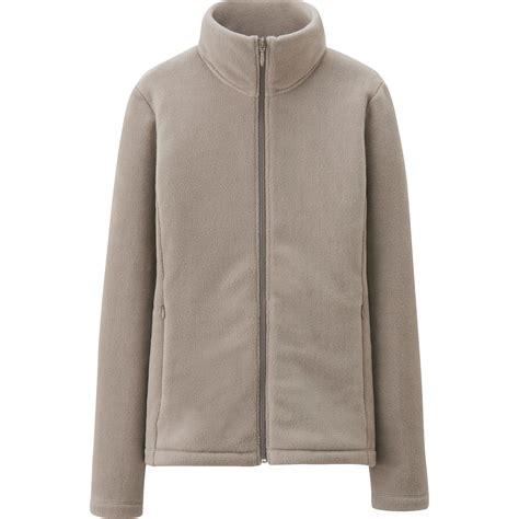 Sleeve Fleece Zip Jacket uniqlo fleece sleeve zip jacket in beige lyst