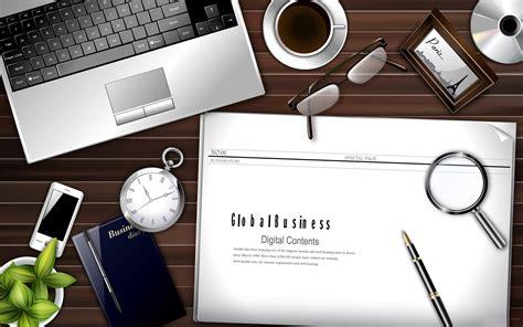 Wooden Laptop Desk Business Wallpaper