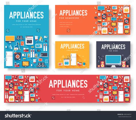 Home Appliances Cards Set Electronics Template Stock Vector 408246874 Shutterstock Home Appliances Website Template Free