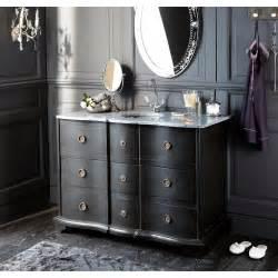 meuble vasque en bois noir et naturelle l 117 cm