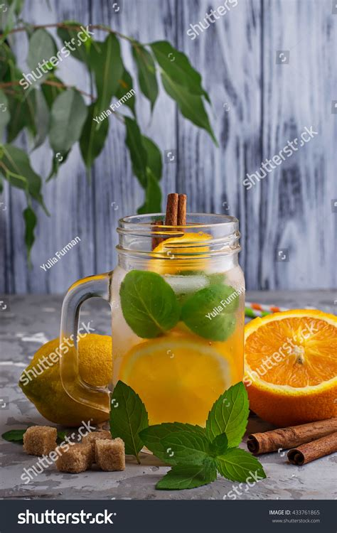 Detox Water Italiano by Detox Water Orange Mint Cinnamon Jar Stock Photo 433761865