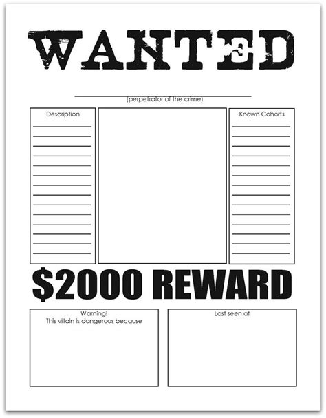 free wanted poster template printable wanted poster free printables free
