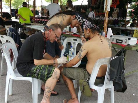 dayak bidayuh tattoo kuching blowpipe carnival event traditional tattoo expo