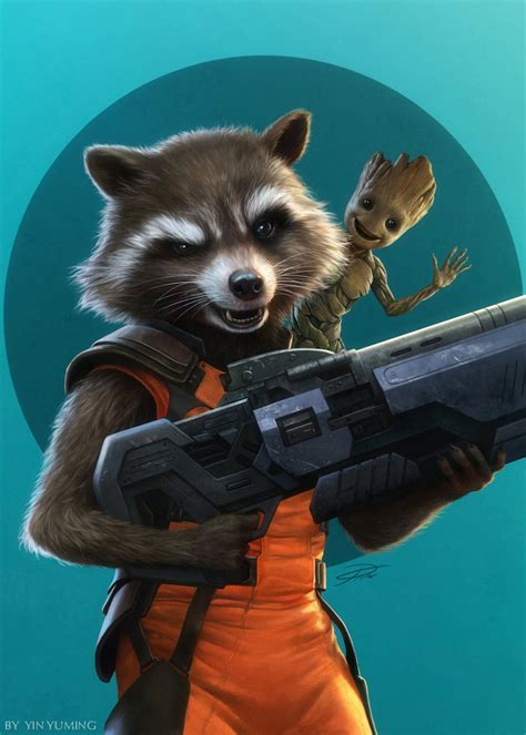 rocket raccoon and baby groot by yinyuming on deviantart