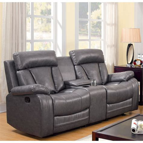 loveseat recliner with cup holder furniture of america allistar recliner loveseat with cup