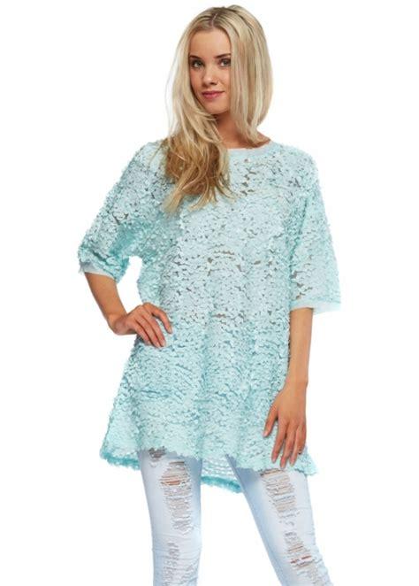 Novita Ribone Blouse Tunik aqua ribbon mesh top with sleeves aqua day top
