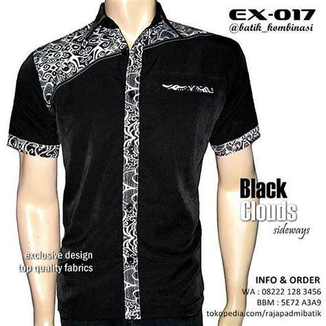 design baju batik elegan batik kombinasi pria warna hitam putih kemeja batik