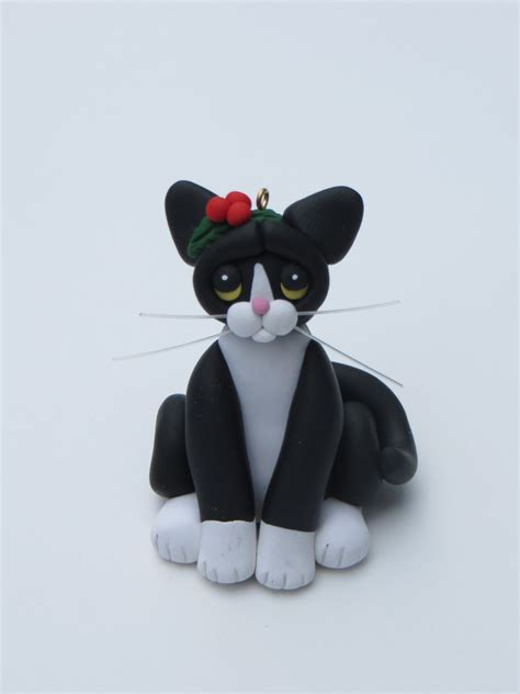 tuxedo cat christmas ornament polymer clay