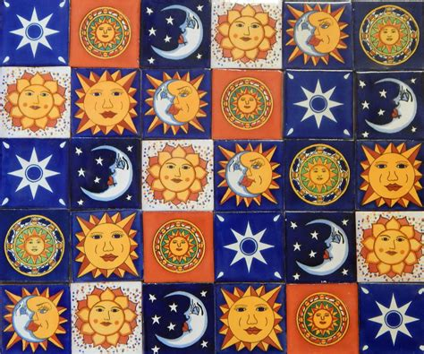 Handmade Mosaic Tiles - sun moon mexican tile handmade talavera backsplash