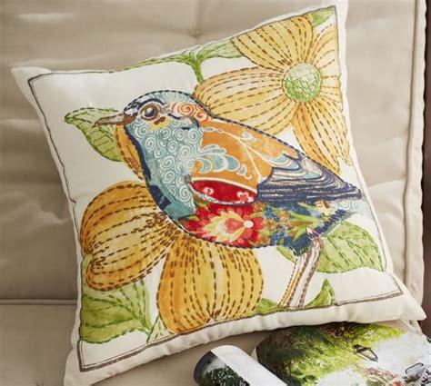 embroidered bird indoor outdoor pillow