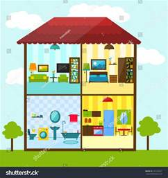 images of a house crosssection house flat style illustration bathroom stock