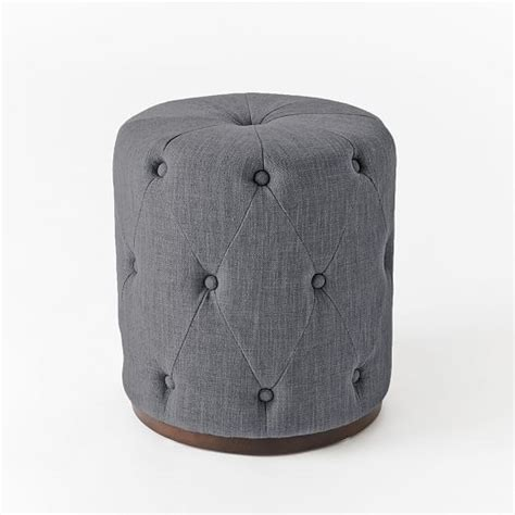 west elm tufted ottoman upholstered tufted round ottoman west elm