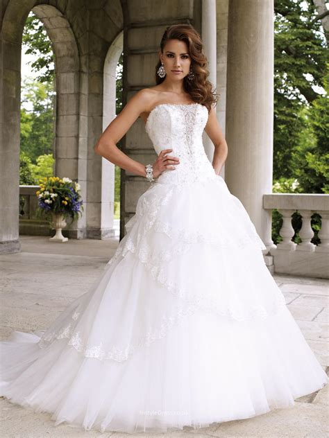 strapless plunging v neck ball gown wedding dress uk with