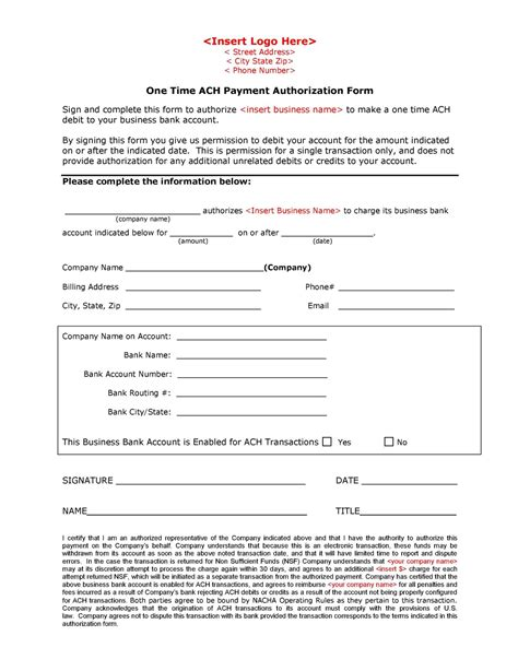 Automated Clearing House Ach May 2011 Ach Form Template
