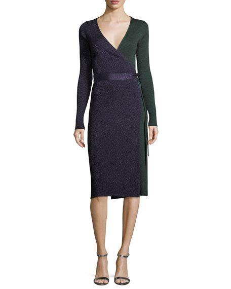 knit wrap dress diane furstenberg sleeve metallic knit wrap dress