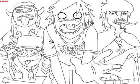 gorillaz line art by krisnavebryan on deviantart