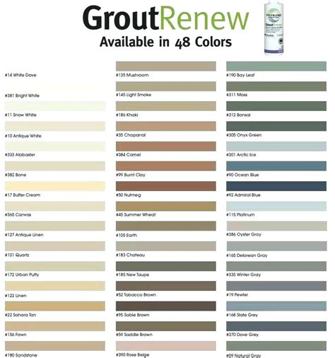 grout color sealer grout refresh grout refresh colors grout renew color chart
