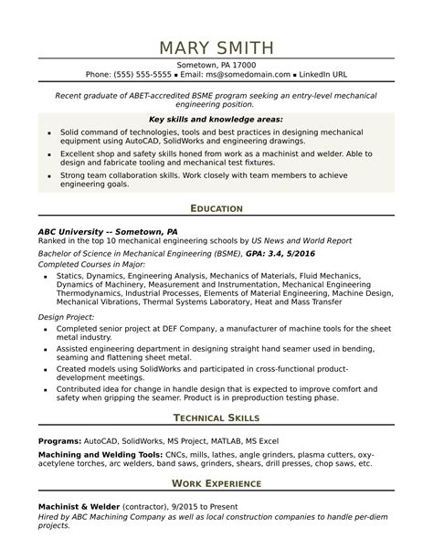 mechanical engineer resume for fresher resume formats