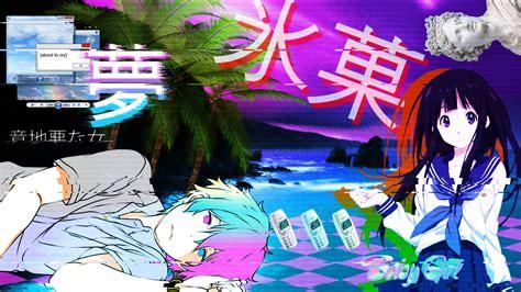 aesthetic anime wallpaper my anime vaporwave wallpaper 05 by iamthebest052 on