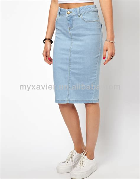 ultra denim pencil skirt in vintage wash knee length denim