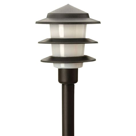 Landscape Lighting Products Moonrays Low Voltage 1 Watt Black Outdoor Led 3 Tier Path Light 95556 The Home Depot