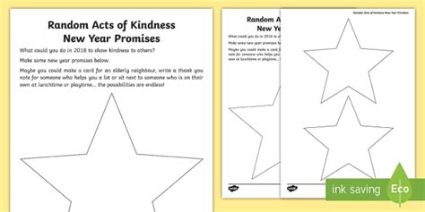 new year ks1 resources ks1 random acts of kindness new year promises writing