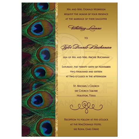 Wedding Invitation   Peacock Feathers   Gold