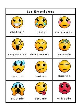 las emociones emojis bingo  emotions vocabulary in spanish