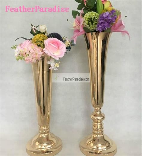 Metal Vases For Wedding Centerpieces by Polished Metal Trumpet Vases Wedding Centerpieces Vases
