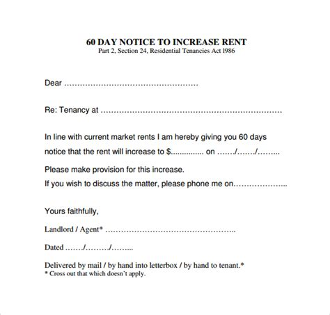 Rent Increase Notice Sle Letter Ireland Rental Increase Letter Template Letter Template 2017