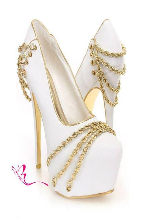white gold chain decor platform pumps amiclubwear heel
