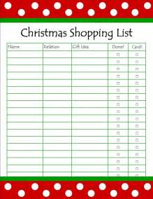 Christmas Shopping List Template » Home Design 2017