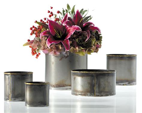 Tin Flower Vase by Rustic Metal Vase Flower Vase Cache Pot Bud Vase Tin