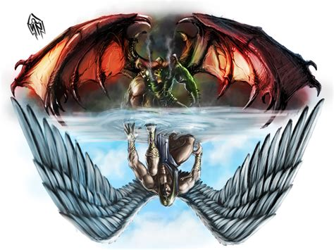 angel vs demon tattoo images designs