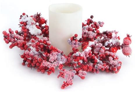 candle ring snow red berries mixed berry pillar candle rings