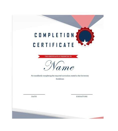 certificate completion template 40 fantastic certificate of completion templates word
